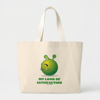My Look Of Satisfaction (Green Alien Expression) Canvas Bags