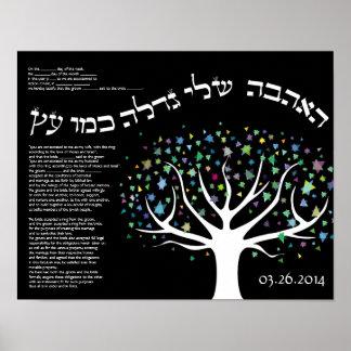 """My love grows like a tree"" Ketubah  Cerificate Poster"