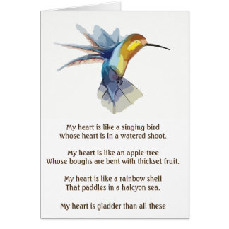 My Love Has Come - romantic poetry valentine card