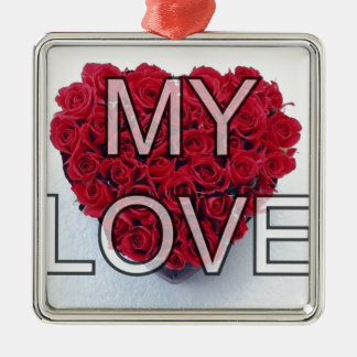 my love,roses square metal christmas ornament