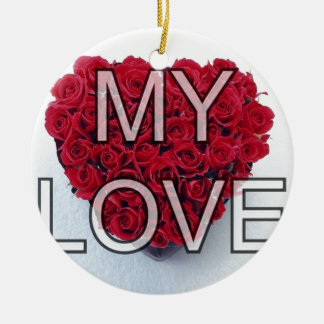 my love,roses Double-Sided ceramic round christmas ornament