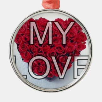 my love,roses round metal christmas ornament