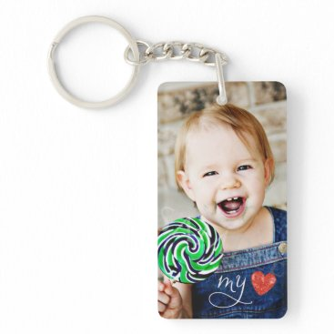 Valentines Themed My Love Sweet Photo Double Sided Keychain