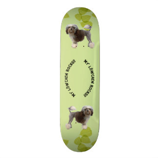 My Lowchen Rocks!! on Green Leaves Skateboard