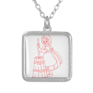 My Maid Mary Square Pendant Necklace