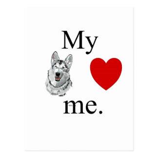 My malamute loves me. postcard