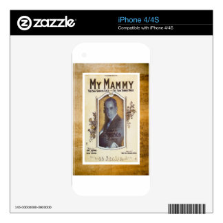 My Mammy Al Jolson Vintage Sheet Piano Music Skins For The iPhone 4S