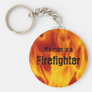 My man is a firefighter - Button Keychain