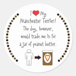 My Manchester Terrier Loves Peanut Butter Classic Round Sticker