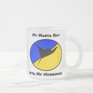 My Manta Ray ate my homework Frosted Glass Coffee Mug