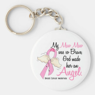 My Maw Maw Is An Angel 2 Breast Cancer Basic Round Button Keychain