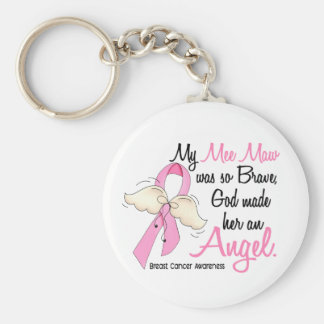 My Mee Maw Is An Angel 2 Breast Cancer Basic Round Button Keychain