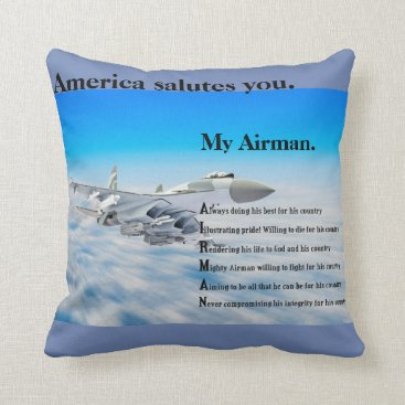 My Military Collection (my airman 16X16 pillow) Throw Pillow