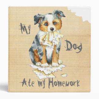 My Mini American Shepherd Ate My Homework 3 Ring Binder