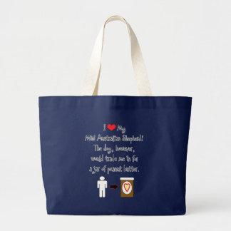 My Mini Australian Shepherd Loves Peanut Butter Tote Bags