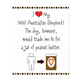 My Mini Australian Shepherd Loves Peanut Butter Postcard