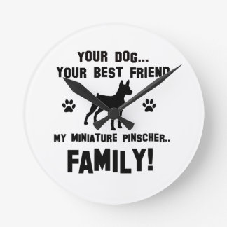 My miniature pinscher family, your dog just a best round wall clock