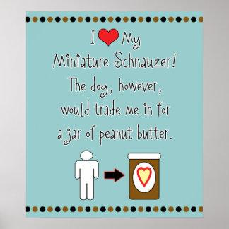 My Miniature Schnauzer Loves Peanut Butter Poster