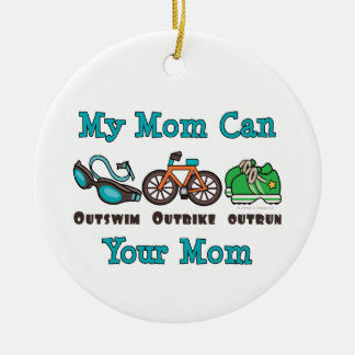 My Mom Can Outswim Outbike Outrun Triathlon Ornam Double-Sided Ceramic Round Christmas Ornament