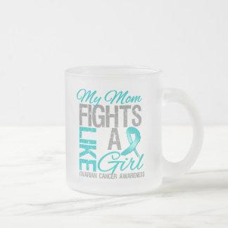 My Mom Fights Like a Girl Ovarian Cancer 10 Oz Frosted Glass Coffee Mug