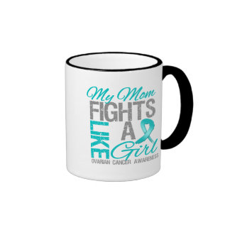 My Mom Fights Like a Girl Ovarian Cancer Ringer Coffee Mug