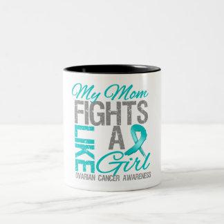 My Mom Fights Like a Girl Ovarian Cancer Two-Tone Coffee Mug