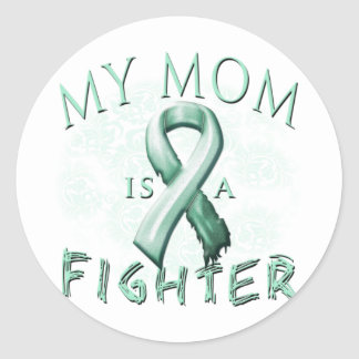 My Mom is a Fighter Teal Classic Round Sticker