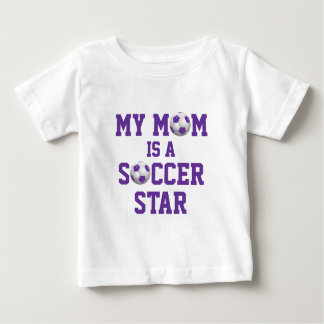 My Mom is a Soccer Star Soccer Ball Purple | White Baby T-Shirt
