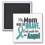 My Mom Is An Angel 1 Ovarian Cancer 2 Inch Square Magnet