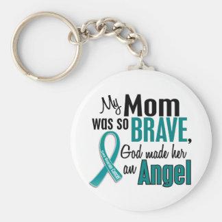 My Mom Is An Angel 1 Ovarian Cancer Basic Round Button Keychain