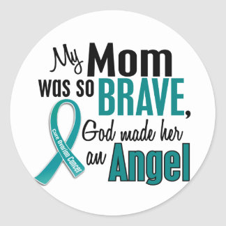 My Mom Is An Angel 1 Ovarian Cancer Classic Round Sticker
