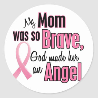 My Mom Is An Angel Breast Cancer Classic Round Sticker
