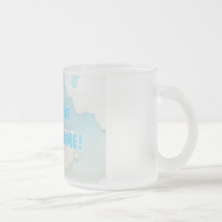 My Mom is Awesome in Blue and White Clouds Frosted Glass Coffee Mug