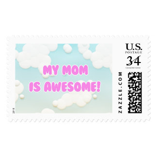 My Mom is Awesome in Blue and White Clouds Postage