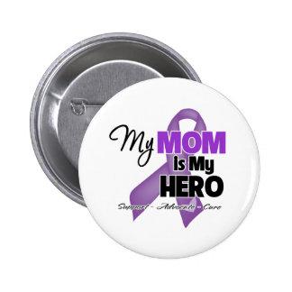 My Mom is My Hero - Purple Ribbon 2 Inch Round Button