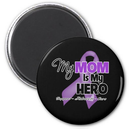 My Mom is My Hero - Purple Ribbon Fridge Magnet