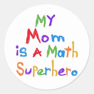 My Mom Math Superhero T-shirts and Gifts Classic Round Sticker
