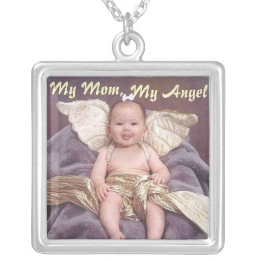 My Mom, My Angel Square Sterling Silver Necklace