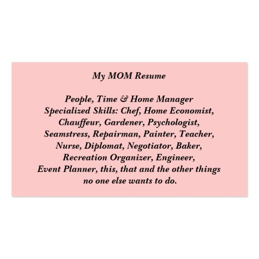 My mom resume calling card card double sided standard for Resume business card