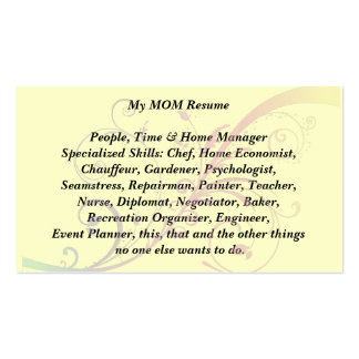 My Mom Resume Calling Card  flourish Double-Sided Standard Business Cards (Pack Of 100)