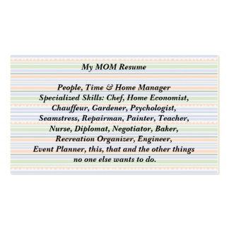 My Mom Resume Calling Card fun stripes Double-Sided Standard Business Cards (Pack Of 100)