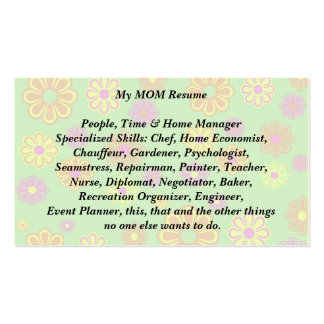 My Mom Resume Calling Card groovy pop flowers Double-Sided Standard Business Cards (Pack Of 100)