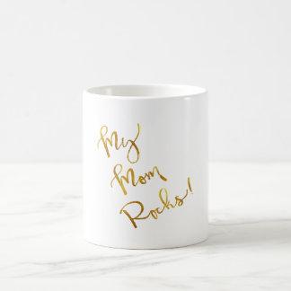 My Mom Rocks Gold Faux Foil Metallic Quote Coffee Mug