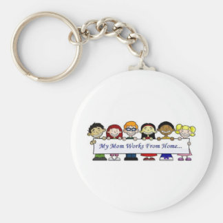 My Mom Works From Home Basic Round Button Keychain