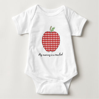 My Mommy is a Teacher- Red Gingham Apple Baby Bodysuit