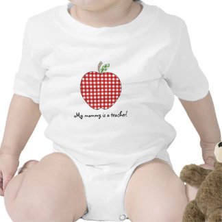 My Mommy is a Teacher- Red Gingham Apple Baby Bodysuits