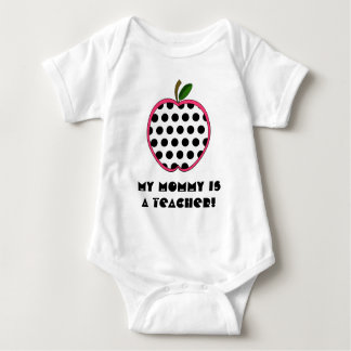 My Mommy is a Teacher Shirt - Polka Dot Apple