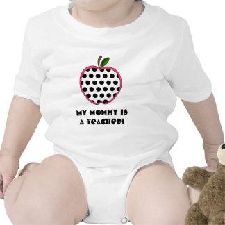 My Mommy is a Teacher Shirt - Polka Dot Apple
