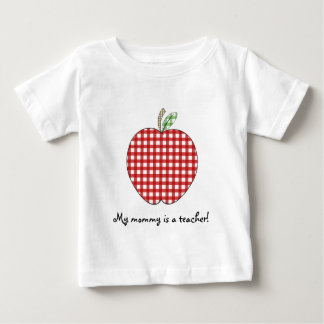 My Mommy is a Teacher Shirt- Red Gingham Apple Tshirt