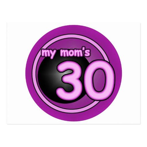 My Mom's 30 pink swirl Post Cards